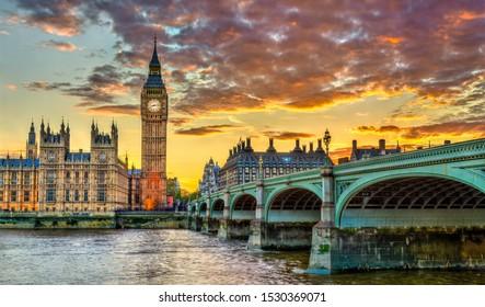 Big Ben and Westminster Bridge in London, UNESCO world heritage in England