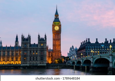 Big Ben and Westminster Bridge in London at night