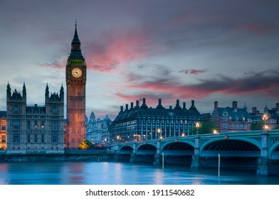 Big Ben and Westminster Bridge in London at sunset, England