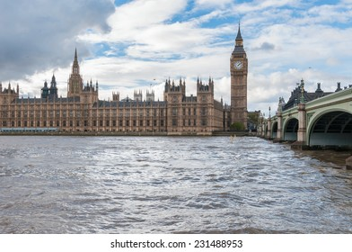 Big Ben and Westminster Bridge in London on a cloudy day