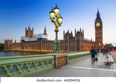Big Ben and Westminster Bridge in London at dusk, UK