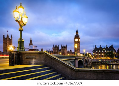 Big Ben and Westminster Bridge in London at Dusk.