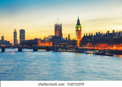 Big Ben and Westminster Bridge in London at sunset, UK.