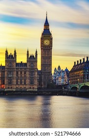 Big Ben and Westminster Bridge in London at sunset, UK.