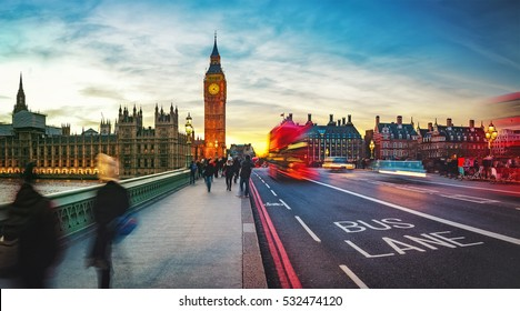 Big Ben and Westminster bridge in London.