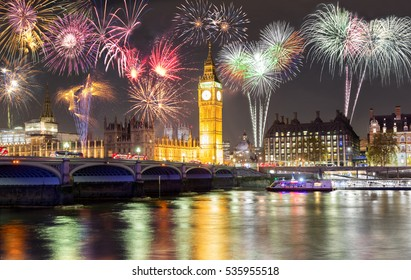 Big Ben and Westminster Bridge in London, United Kingdom, with fireworks