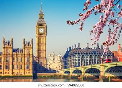 Big Ben and westminster bridge in London at spring