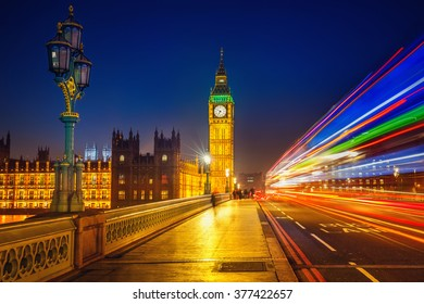 Big Ben and Westminster bridge at night