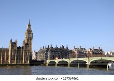 Big Ben, Westminster Bridge and River Thames