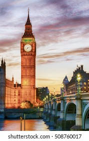 Big Ben, Westminster, London, after colorful sunset