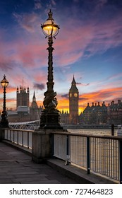 The Big Ben and Westminster in London, United Kingdom, just after sunset