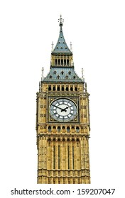 Big Ben in Westminster on white background.