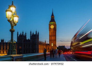 Big Ben and Westminster Palace with blue night sky