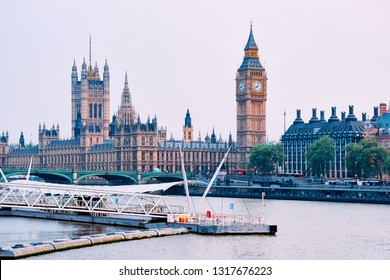 Big Ben in Westminster Palace in London old town in United Kingdom. Thames River in city capital of UK. England in spring. Bankside cityscape.