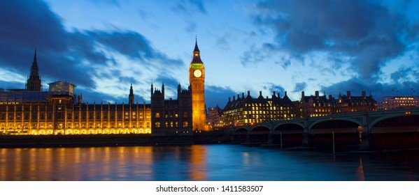 Big Ben and Westminster palace in London at night. abstract colorful image