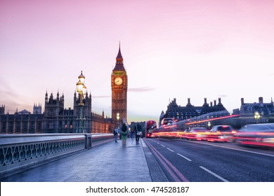 Big Ben and Westminster palace in London, England from the bridge at sunset with a long exposure