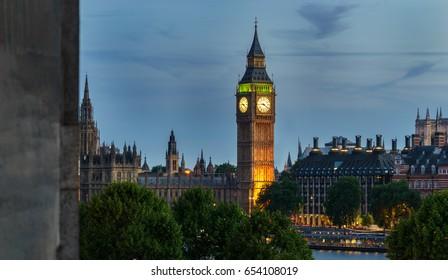 Big Ben and Westminster parliament after dusk in London, United Kingdom