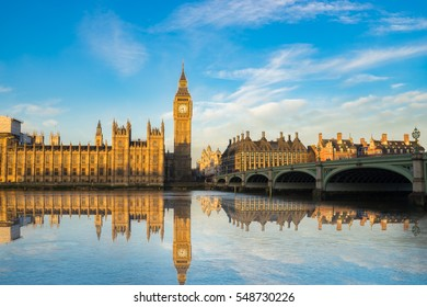 Big Ben and Westminster parliament with blue sky and water reflection in London, UK