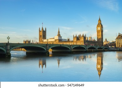 Big Ben and Westminster parliament with colorful sky and water reflection in London, United Kingdom