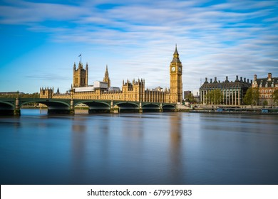 Big Ben and Westminster parliament with colorful blue sky