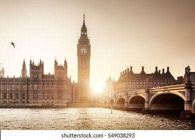 Big Ben and Westminster at sunset, London, UK