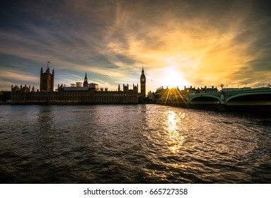 Big Ben and Westminster at sunset in London UK