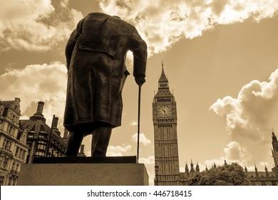 Big Ben and Winston Churchill's statue at sunset, London