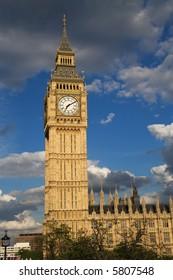 Big Ben's home, Westminster Clock Tower, in evening sunlight