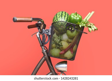 Big bicycle basket full of fresh tasty green veggetables and fruits