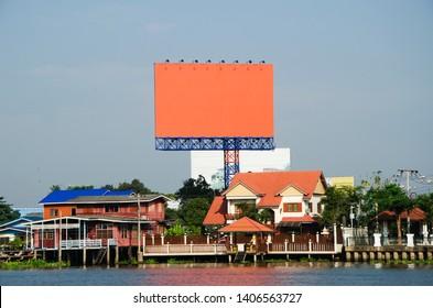 big billboard orange screen for advertisement