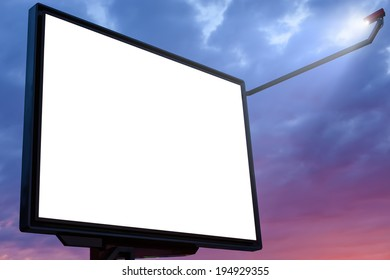 Big billboard at sunset with blank copy space