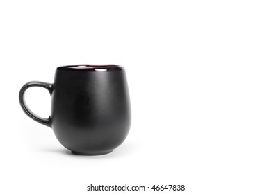 Big black ceramics cup isolated on white with copyspace.