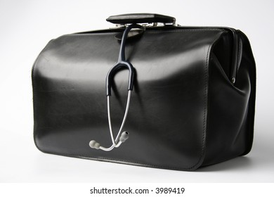big black doctor's bag with stethoscope hanging out