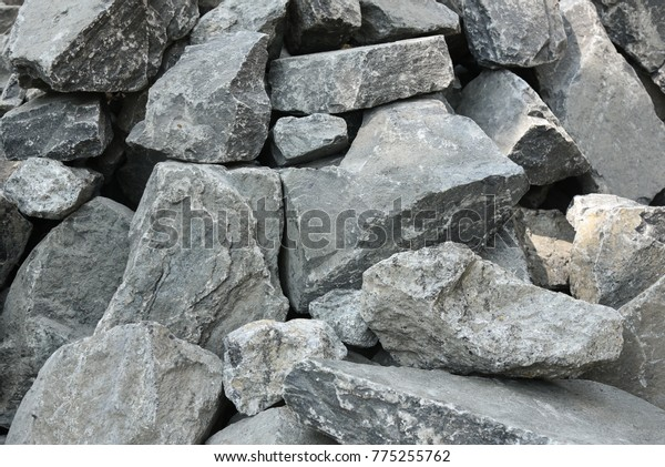Big Black Rocks Stones Build Foundation Stock Photo (Edit