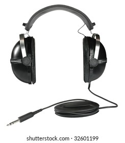 Big black vintage egg-shaped stereo headphones isolated over white