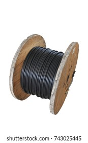 Big black waterproof electrical cable roll isolated on white background