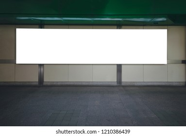 big blank billboard white LED screen horizontal outstanding in the city on pathway walking at sky train over the road traffic for display advertisement text template promotion new brand at outdoor.