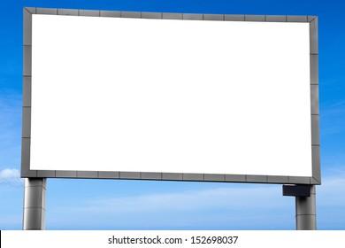 a big blank  billboards on the blue sky