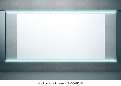 Big blank glowing poster on the wall in empty room, mock up,