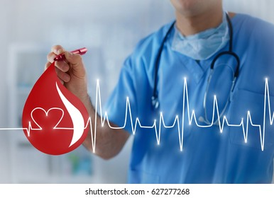 Big blood drop with heart pulse, concept of blood transfusion