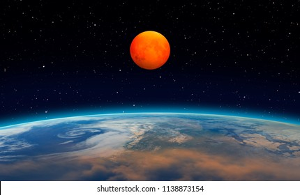 """Big blood red moon with Lunar eclipse """"Elements of this image furnished by NASA """""""
