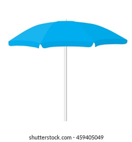 big blue beach opened umbrella isolated raster illustration