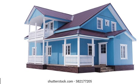 The big blue classic american two level house with terrace on white background isolated