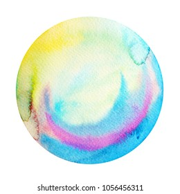 big blue full moon round circle watercolor painting illustration design hand drawn