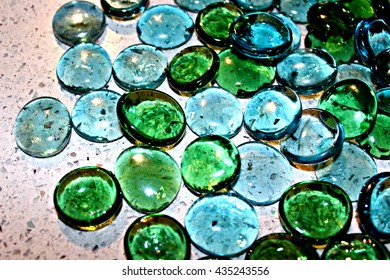 Big Blue and Green Glass Beads