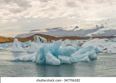 Big blue icebergs at glacier lagoon on Iceland, summer, 2015