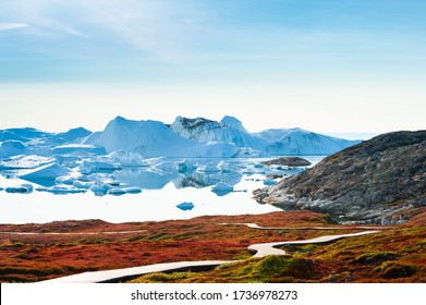 Big blue icebergs in the Ilulissat icefjord at sunset, western Greenland. Hiking trail to the Ilulissat icefjord through the fields with autumn red grass