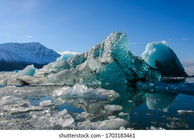 Big blue piece of ice in Arctic sea