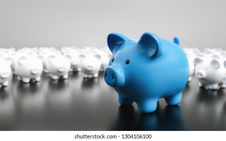 Big blue piggy bank with small white piggy banks, investment and development concept