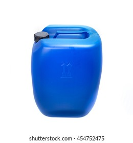 Big blue plastic canister, container; isolated on white background